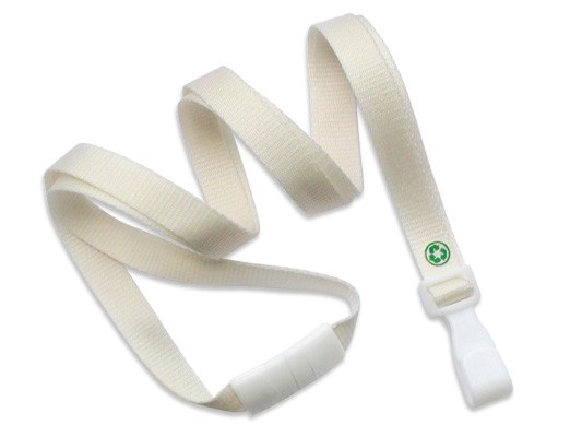 PET Recycling Lanyard EcoLine, flach, natur, 10mm