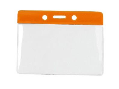 Kartenhalter Vinyl Querformat orange Farbbalken