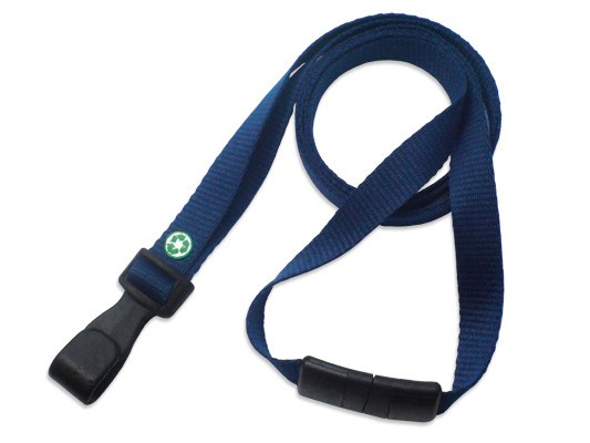 PET-Recycling Lanyard EcoLine, flach, marinblau